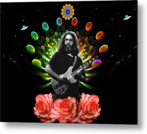 Jerry Garcia Metal Print featuring the photograph Jerry Spacepods Ufo Roses Under Cosmic Sun by Ben Upham