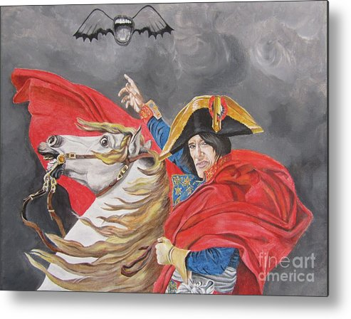 Joe Perry Metal Print featuring the painting Joe Perry On Horse by Jeepee Aero