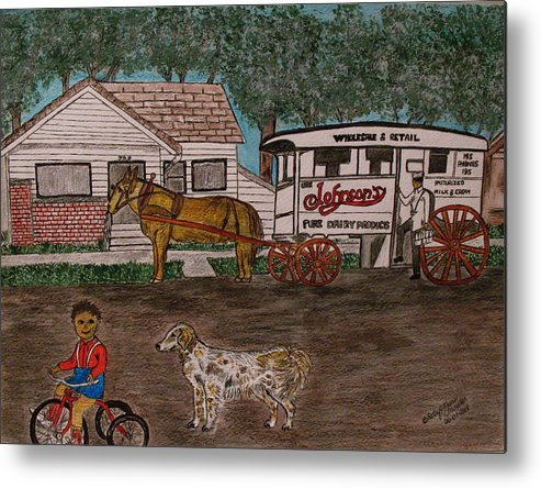 Johnson Creamery Metal Print featuring the painting Johnsons Milk Wagon Pulled By A Horse by Kathy Marrs Chandler