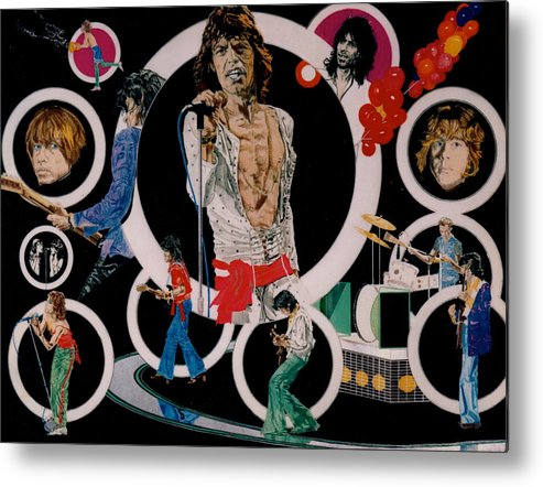Mick Jagger;keith Richards;brian Jones;charlie Watts;bill Wyman;rock & Roll;music;guitars;water Metal Print featuring the drawing Ladies And Gentlemen -the Rolling Stones by Sean Connolly