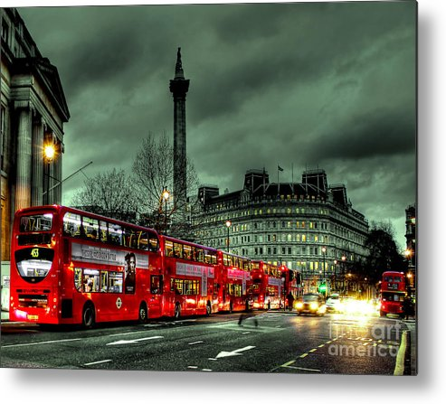 London Red Bus Metal Print featuring the photograph London Red Buses And Routemaster by Jasna Buncic