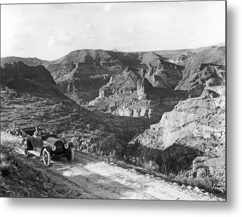 1916 Metal Print featuring the photograph Lone Car In Fish Creek Canyon by Underwood Archives