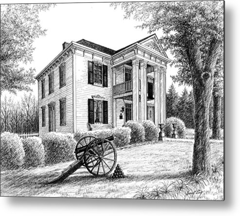 Battle Of Franklin Metal Print featuring the drawing Lotz House by Janet King