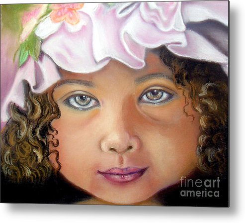 Hat Metal Print featuring the pastel Love My New Hat by Lamarr Kramer