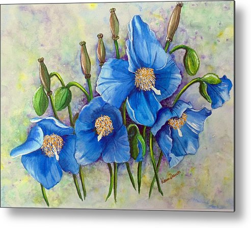 Blue Hymalayan Poppy Metal Print featuring the painting Meconopsis  Himalayan Blue Poppy by Karin Dawn Kelshall- Best
