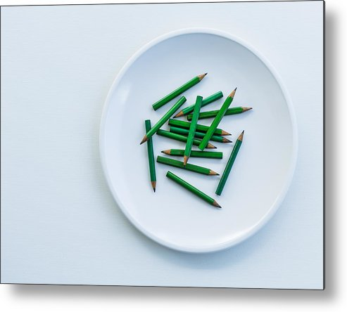 Pencil Metal Print featuring the photograph Mini Pencils On A Plate by Roberto Adrian