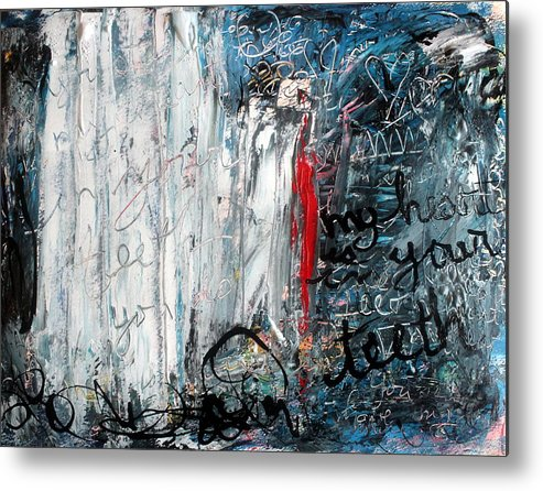 Abstract Metal Print featuring the painting My Heart Is In Your Teeth by Mary C Farrenkopf