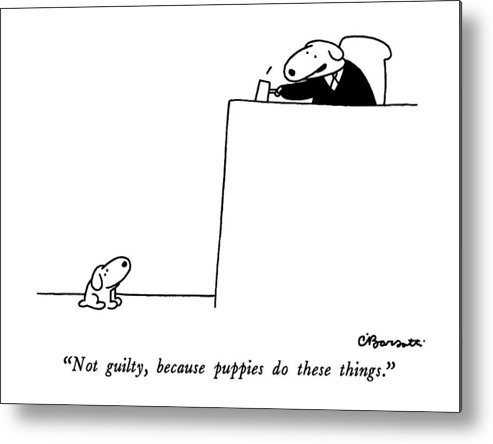 not Guilty Metal Print featuring the drawing Not Guilty, Because Puppies Do These Things by Charles Barsotti