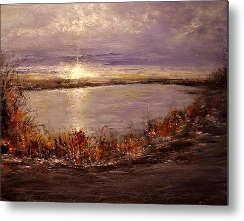Landscape Metal Print featuring the painting On A Slice Of Heaven... by Cristina Mihailescu