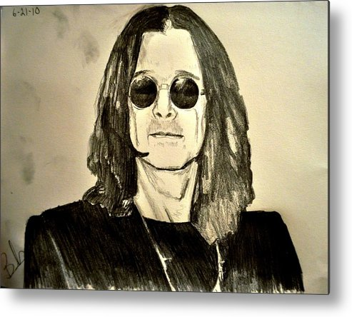 Ozzy Osbourne Metal Print featuring the drawing Ozzy Plain And Simple by Ruben Barbosa