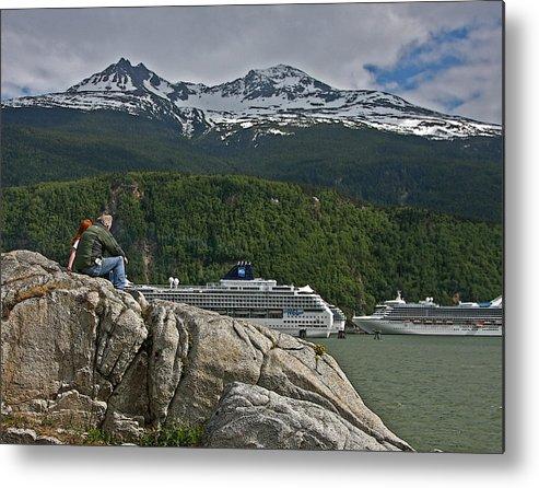 Cruise Metal Print featuring the photograph Pause In Wonder At Cruise Ships In Alaska by John Haldane