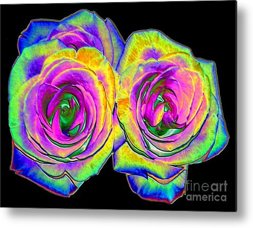 Roses Metal Print featuring the photograph Pink Roses With Colored Foil Effects by Rose Santuci-Sofranko