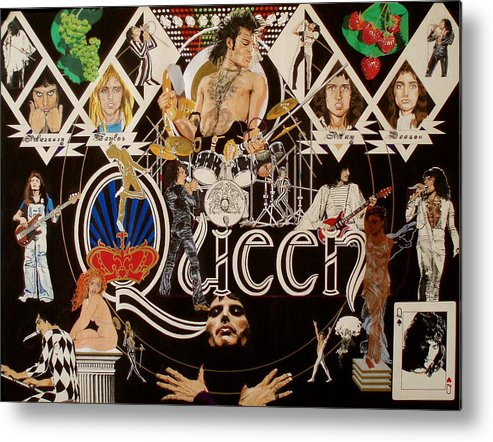 Freddie Mercury;brian May;roger Taylor;john Deacon;guitars;crown;royal;grapes;strawberries;drums; Metal Print featuring the drawing Queen - Black Queen White Queen by Sean Connolly