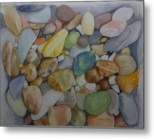 Stones Metal Print featuring the painting Rainbow In Stone by Teresa J Sharp