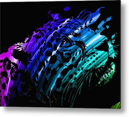 Jaguar Metal Print featuring the digital art Rainbow Jaguar by Israel Zuniga