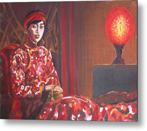 Chinese Metal Print featuring the pastel Raise The Red Lantern by Karen Coggeshall