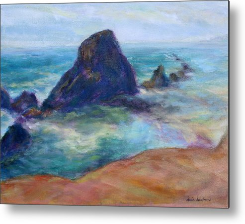Seascape Metal Print featuring the painting Rocks Heading North - Scenic Landscape Seascape Painting by Quin Sweetman