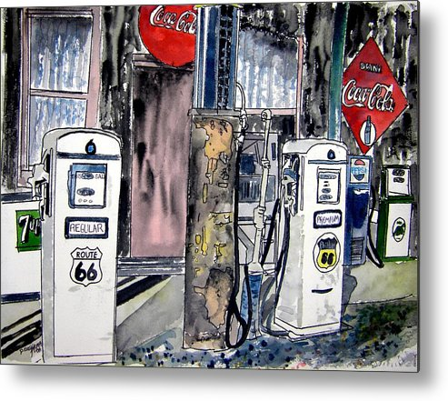 Watercolor Metal Print featuring the painting Route 66 Gas Station by Derek Mccrea