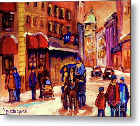 Montreal Metal Print featuring the painting Rue St. Paul Old Montreal Streetscene In Winter by Carole Spandau