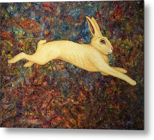 Rabbit Metal Print featuring the painting Running Rabbit by James W Johnson