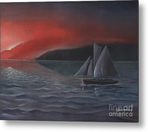 Silboat Metal Print featuring the painting Sailboat In Sunset by Christian Simonian