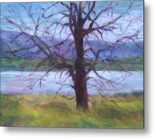 Water Metal Print featuring the painting Scenic Landscape Painting Through Tree - Spring Has Sprung - Color Fields - Original Fine Art by Quin Sweetman