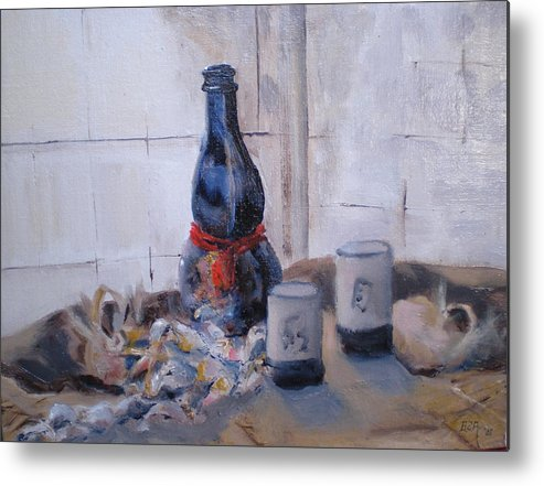 Still Life Metal Print featuring the painting Sea Shells And Sake by Bryan Alexander