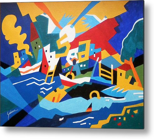 Abstract - Sea Mood Metal Print featuring the painting SEA by Vikram Sutar