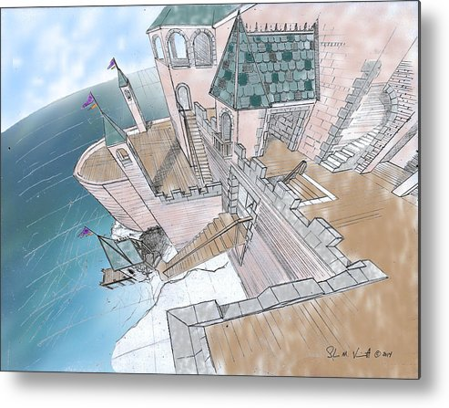 Metal Print featuring the drawing Seaside Castle by Shawn Vincelette