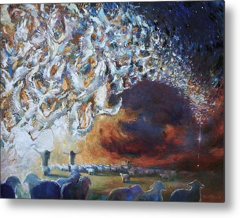 Christmas Metal Print featuring the painting Seeing Shepherds by Daniel Bonnell