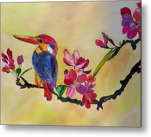 Bird Metal Print featuring the painting Signs Of Spring by Susan Duxter