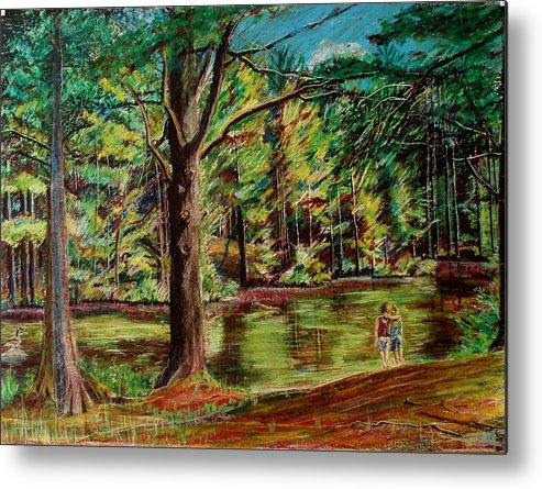 New Hampshire Metal Print featuring the pastel Sisters At Wason Pond by Sean Connolly