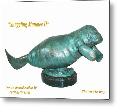 Manatee Metal Print featuring the sculpture Snuggling Manatee II by Shawn McAvoy