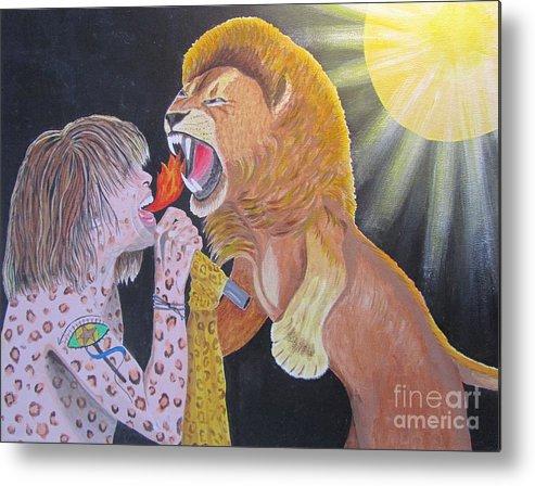 Steven Tyler Metal Print featuring the painting Steven Tyler Versus Lion by Jeepee Aero