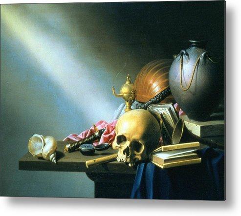 Vanitas Metal Print featuring the painting Still Life An Allegory Of The Vanities Of Human Life by Harmen van Steenwyck