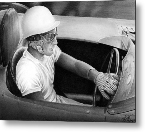 Stirling Moss Metal Print featuring the drawing Stirling Performance by Lyle Brown