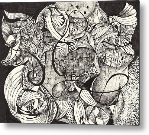Soft Abstract Metal Print featuring the drawing Stroke Of Midnight by Ronda Breen