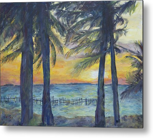 Palm Metal Print featuring the painting Sunset At Buho's by Nick Vogel