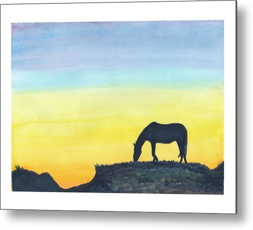 C Sitton Painting Paintings Metal Print featuring the painting Sunset Silhouette by C Sitton