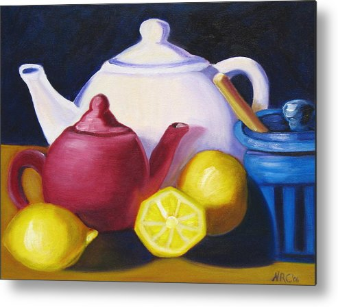 Teapot Metal Print featuring the photograph Teapots In Primary Colors by Natalie Rotman Cote