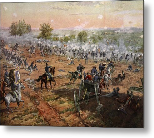 Attack Metal Print featuring the drawing The Battle Of Gettysburg, July 1st-3rd by Henry Alexander Ogden