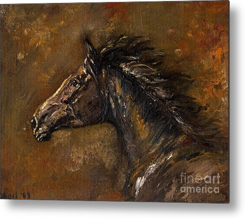 Horse Metal Print featuring the painting The Black Horse Oil Painting by Angel Ciesniarska