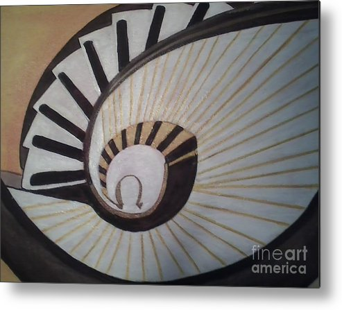 Landscape/ Stairs From Above Looking Down Metal Print featuring the painting The Eye Of Stairs by Ordy Duker