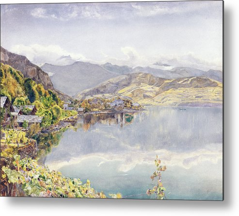 Swiss Landscape Metal Print featuring the drawing The Lake Of Lucerne, Mount Pilatus by John William Inchbold