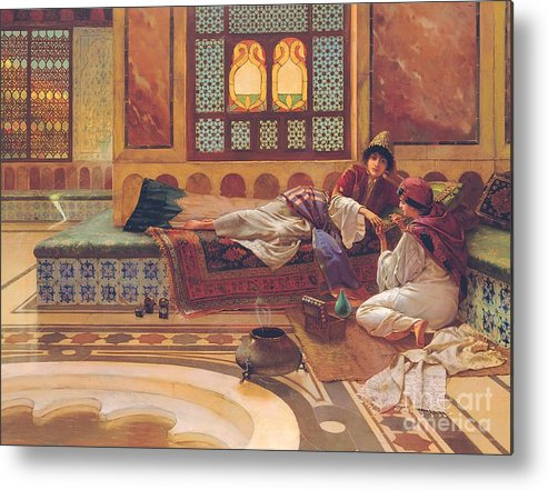 Manicure; Beauty; Spa; Treatment; Pampering; Leisure; Grooming; Female; Interior; Bath; Reclining; Nails; Nail Care; Exotic; Orientalist; Oriental; Tiles; Tiled; Stained Glass; Luxury; Opluent; Concubine; Odalisque; Harem; Relaxation; Manicurist; Beautician; Reclining Metal Print featuring the painting The Manicure by Rudolphe Ernst