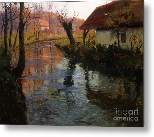 Mill; Stream; River; House; Thatched; Cottage; Bend; Reflection; Reflections; Ripple; Ripples; Water; Autumn; Autumnal; Dusk; Evening; Sunset; Atmospheric; Idyllic; Rural; Countryside; Fall Metal Print featuring the painting The Mill Stream by Fritz Thaulow