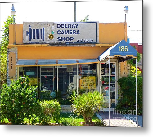 The Old Delray Camera Shop And Studio. Florida. Metal Print featuring the photograph The Old Delray Camera Shop And Studio. Florida. by Robert Birkenes