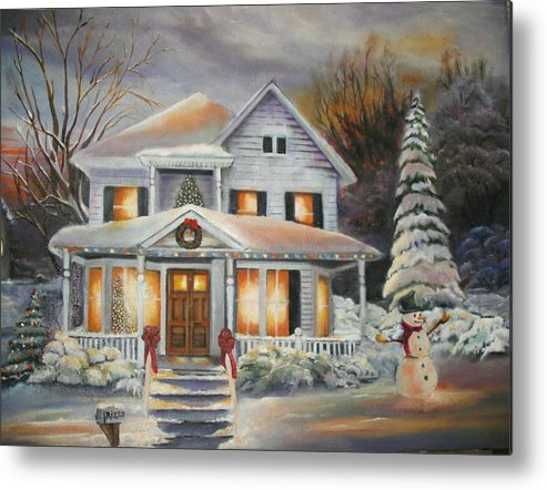 Landscape Will Make Beautiful Christmas Cards Metal Print featuring the painting The Present by Pamela Powers