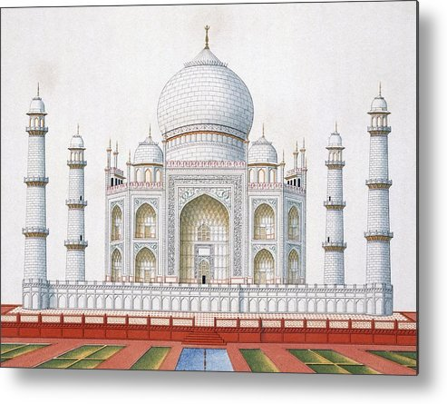Taj Mahal Metal Print featuring the drawing The Taj Mahal by German School