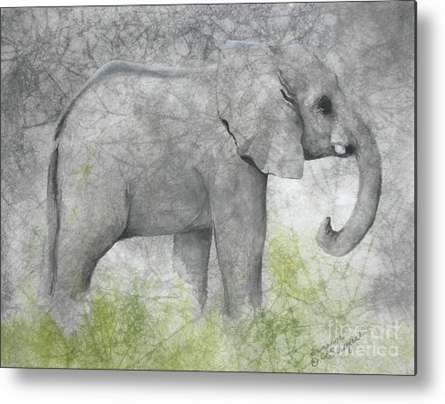 Elephant Metal Print featuring the painting Vanishing Thunder Series-baby Elephant II by Suzanne Schaefer